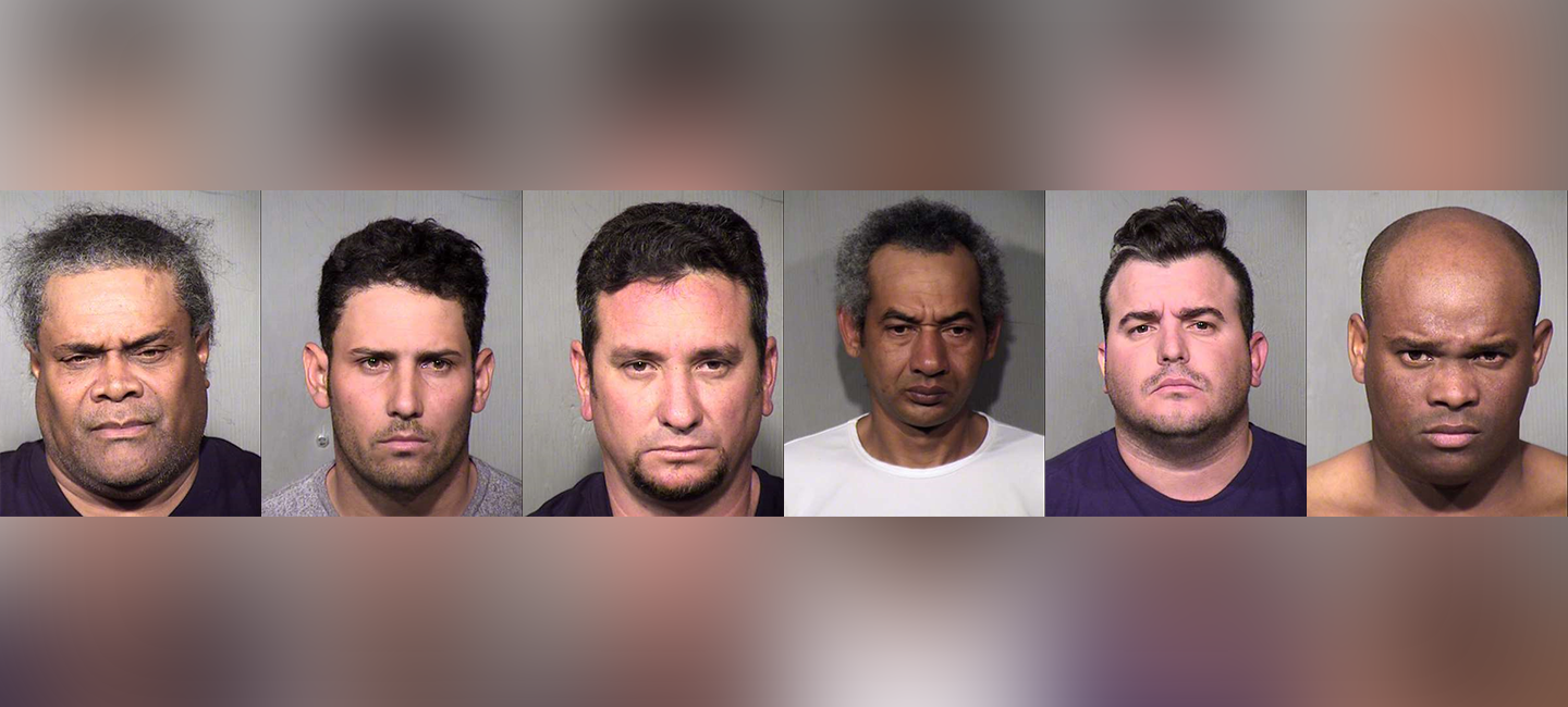 Mugshots of six men indicted for using gas skimmers