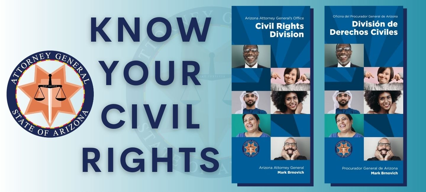 Banner announcing New Civil Rights Pamphlet for the public.